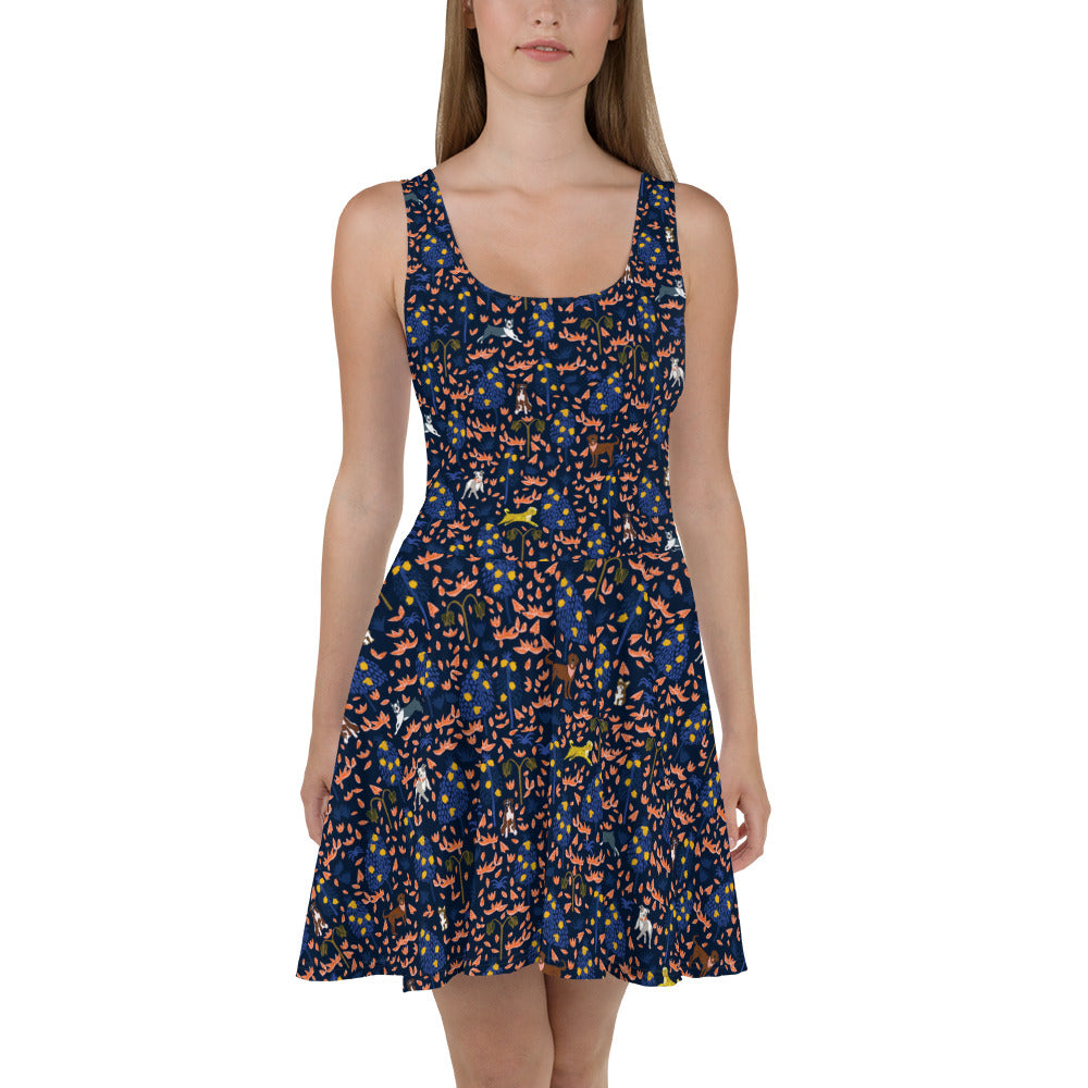 Midnight Jungle Dogs Dress