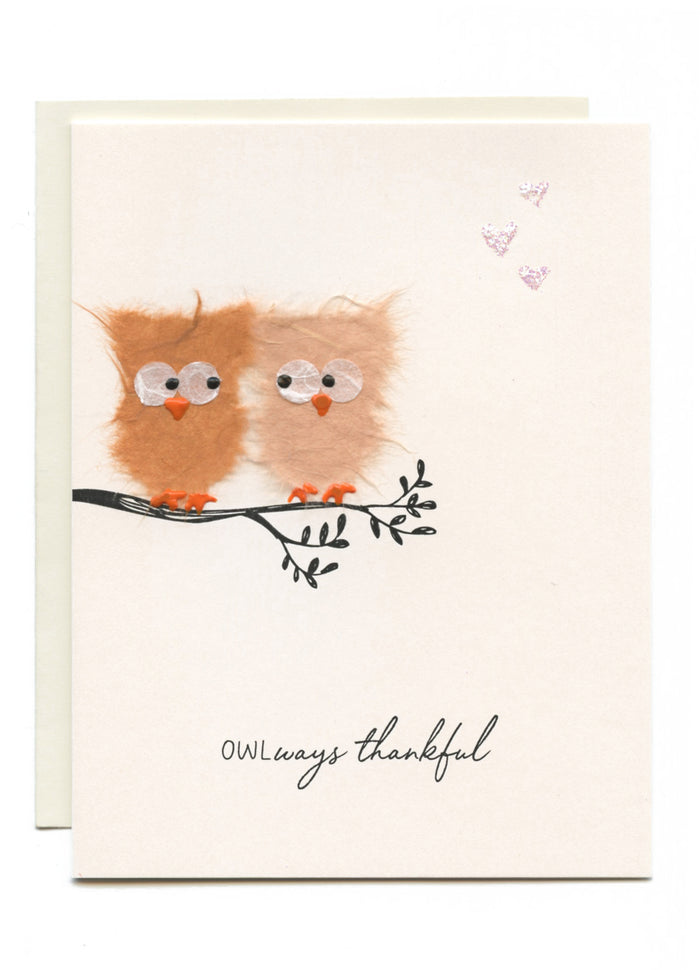 """OWLways thankful"" Owls on a Branch w Hearts"