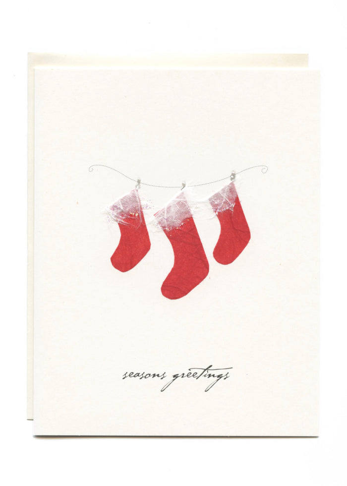 """Season's Greetings""  Three Stockings"