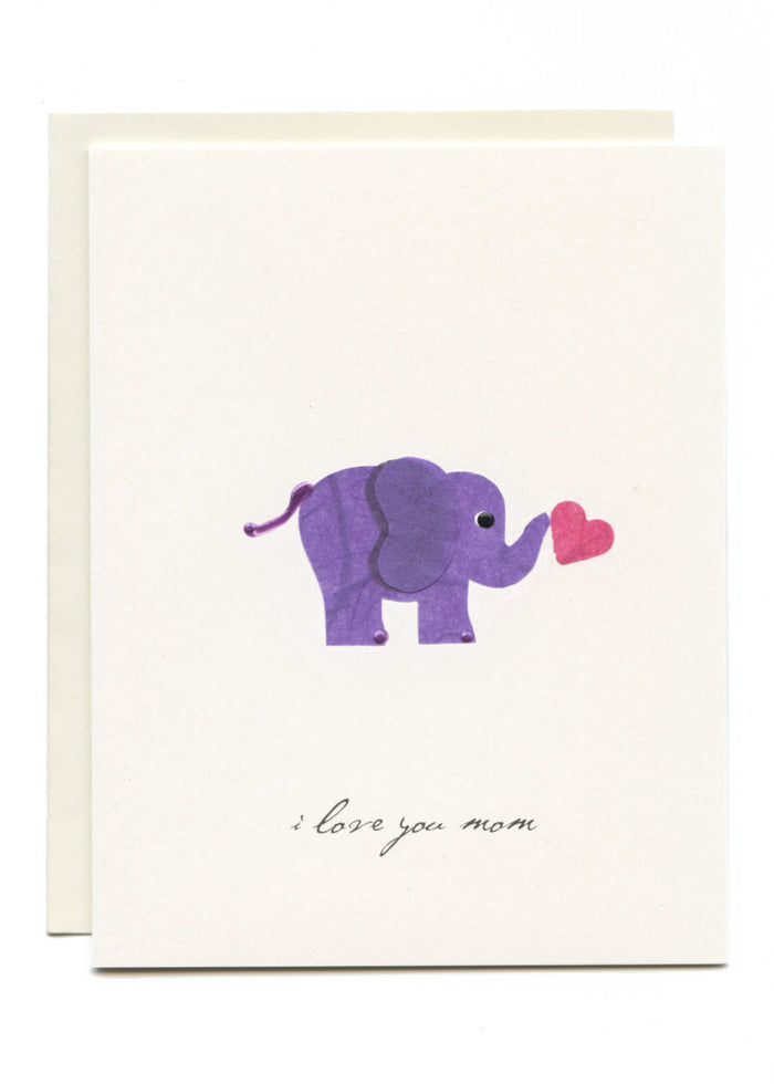 """I Love You Mom"" Elephant w Heart"