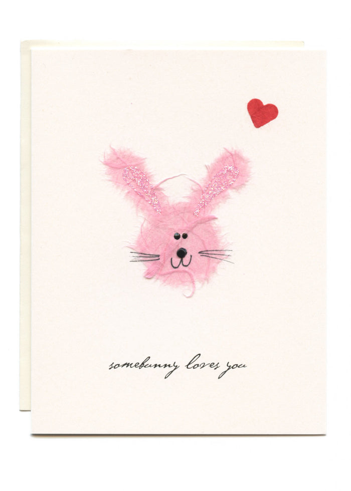 """Somebunny Loves You""  Pink Bunny with Heart"