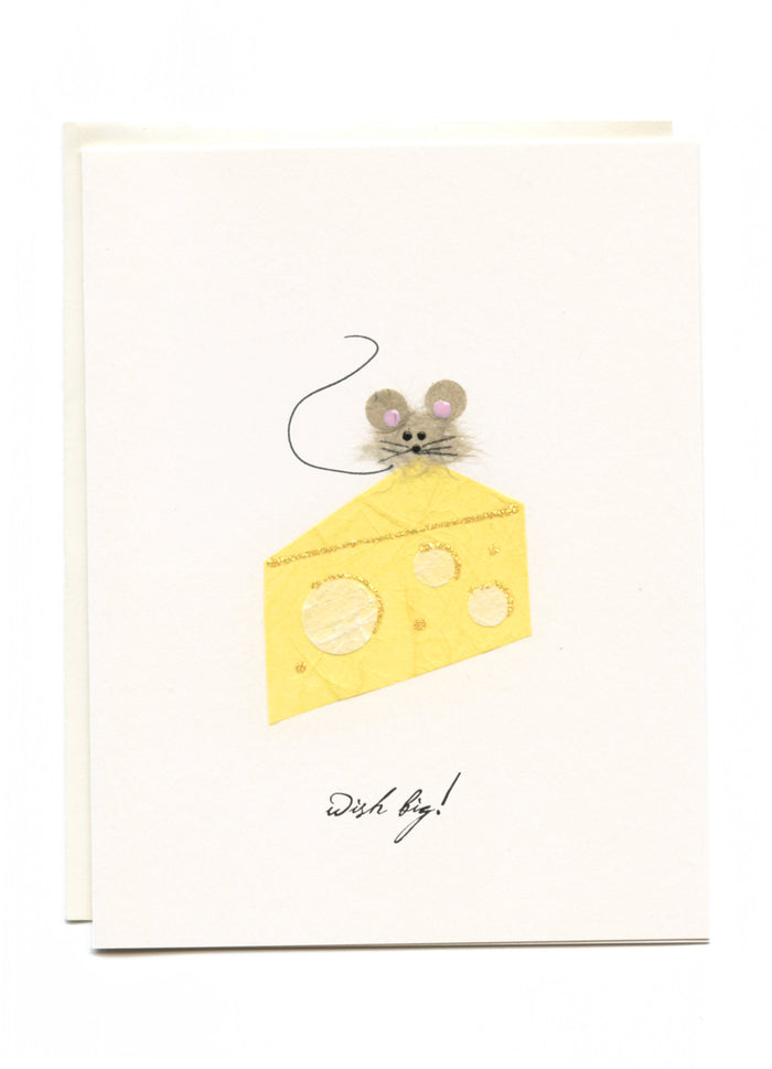 """Wish Big"" Mouse on Cheese Greeting Card"