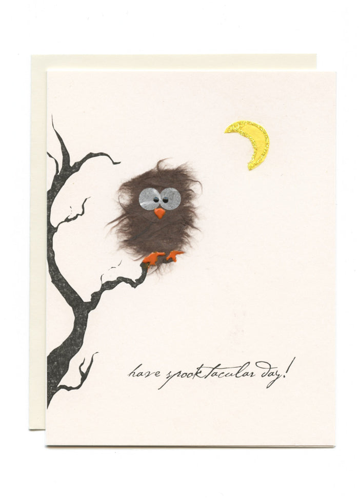 """Have a Spooktacular Halloween"" Owl in Tree"
