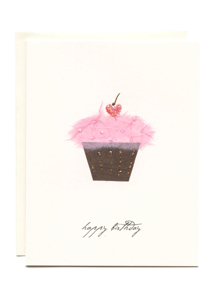 """Happy Birthday""  Cupcake with a Cherry"
