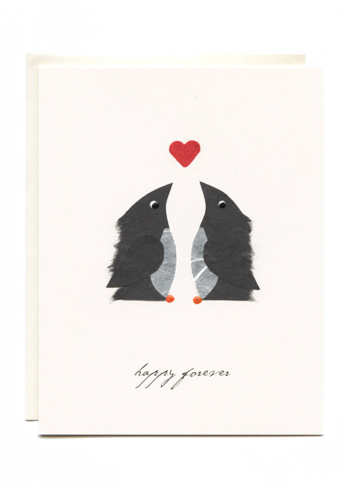 """Happy Forever"" Penguins Greeting Card"