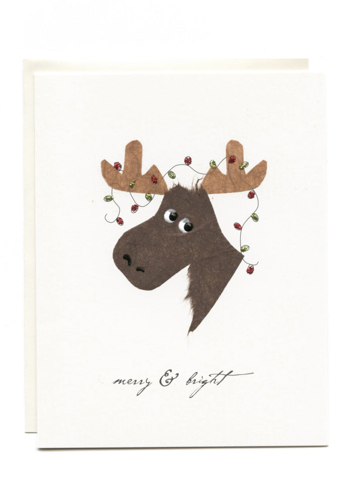 """Merry & Bright"" Moose with Lights"