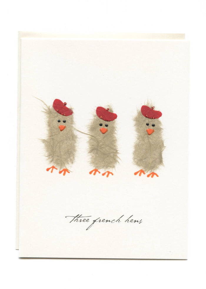 """Three French Hens"" 3 Hens with Berets"