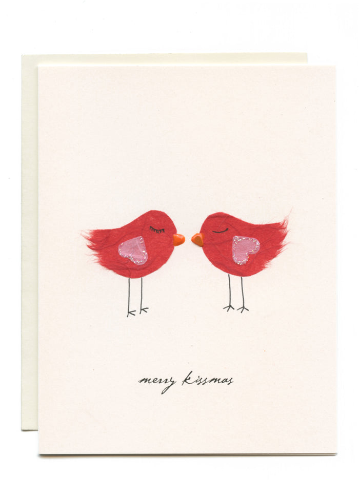 """Merry Kissmas"" Red Birds Kisssing"