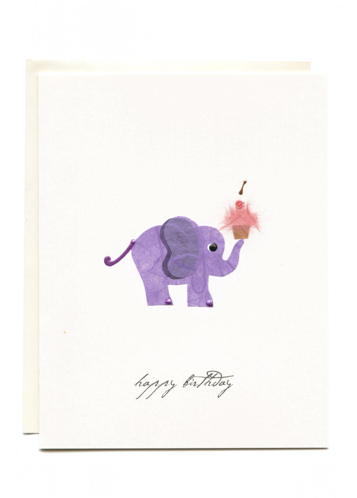 """Happy Birthday"" Elephant with Cupcake Greeting Card"