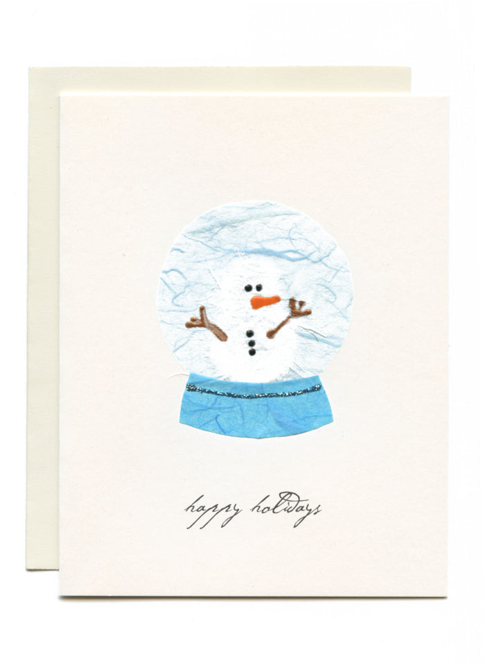 """Happy Holidays"" Snowman in Globe"