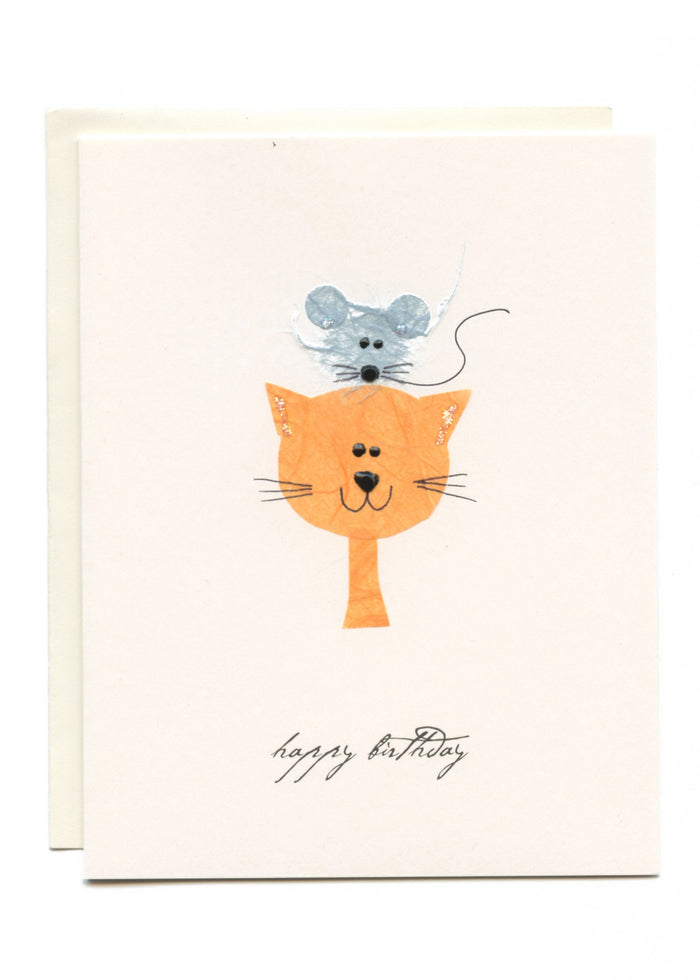 """Happy Birthday"" Cat with Mouse on Head"