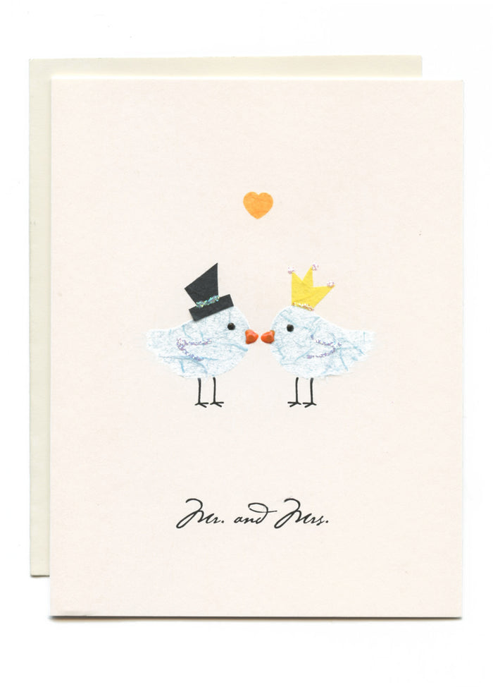 """Mr. & Mrs."" Two Birds Kissing"