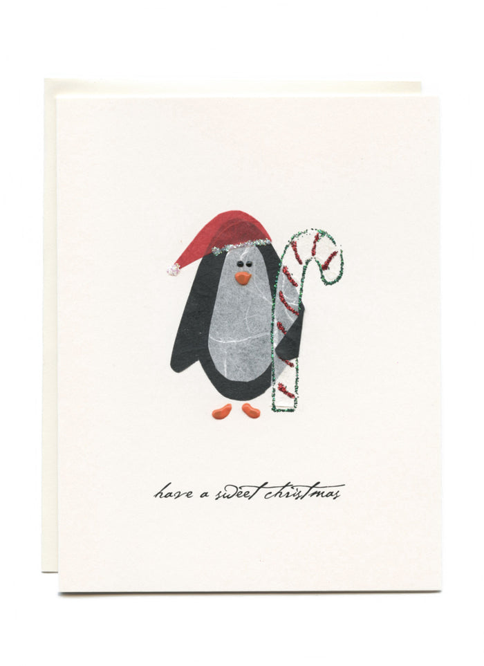"""Sweet Christmas Wishes""  Penguin with Candycane"
