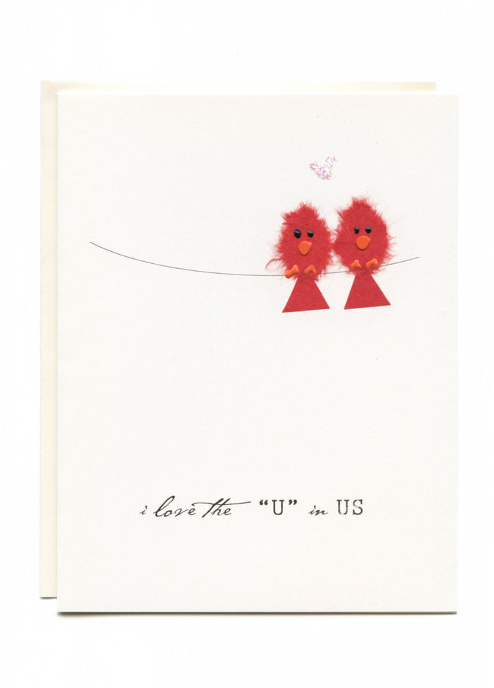 """I Love the U in US""  Two birds on a wire"