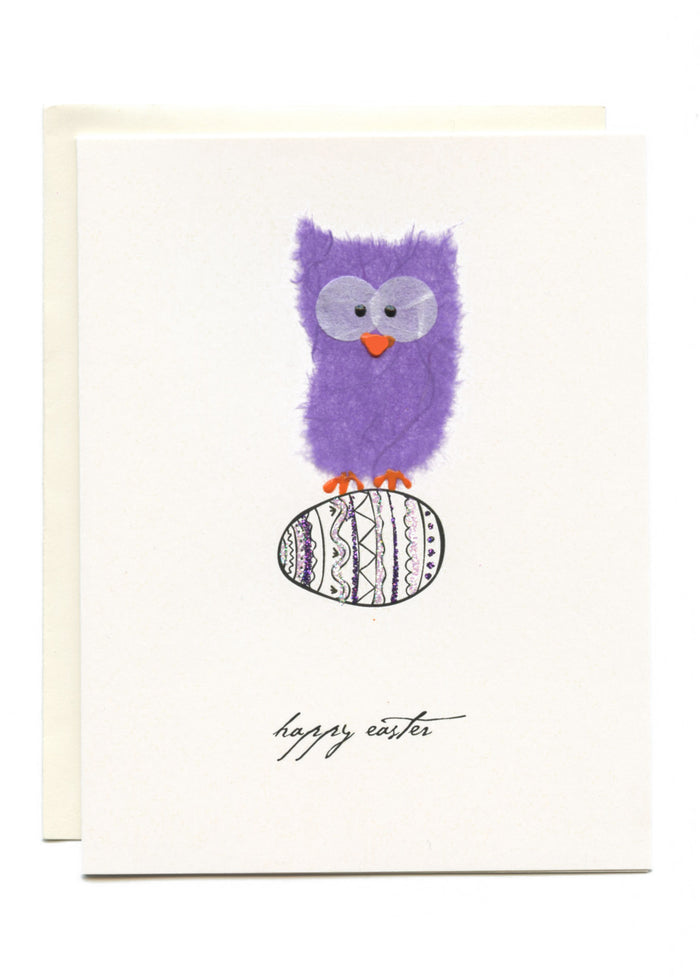 """Happy Easter""  Purple Owl on Egg"