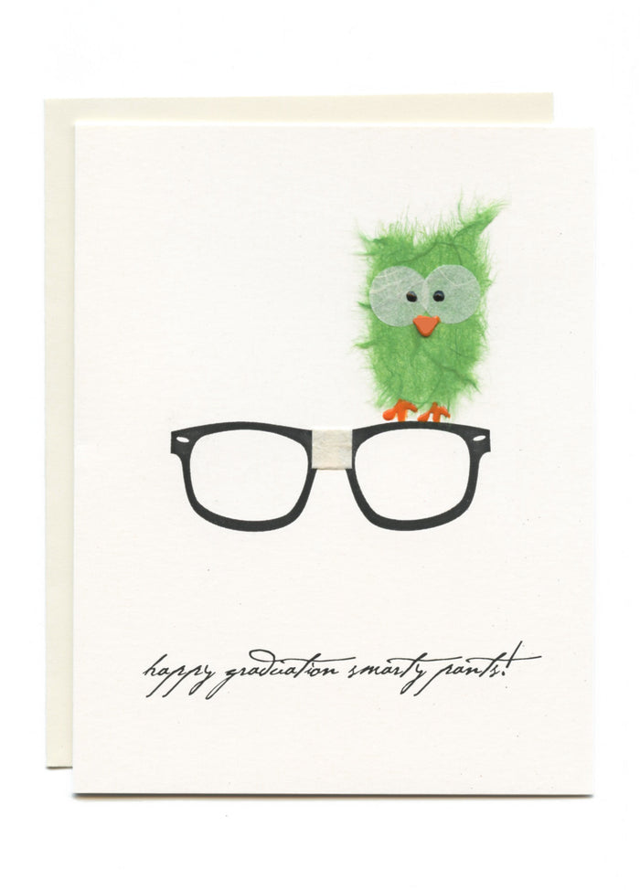 """Happy Graduation Smarty Pants""  Owl on Nerd Glasses"