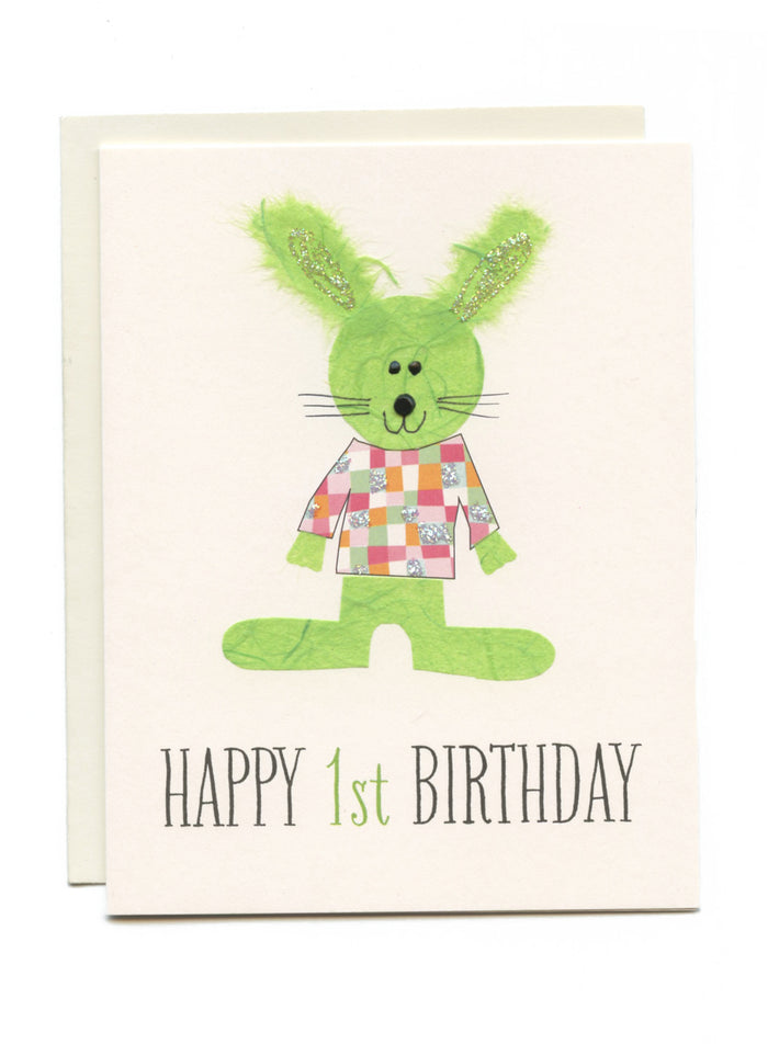 """Happy 1st Birthday"" Bunny with Checkered Shirt"
