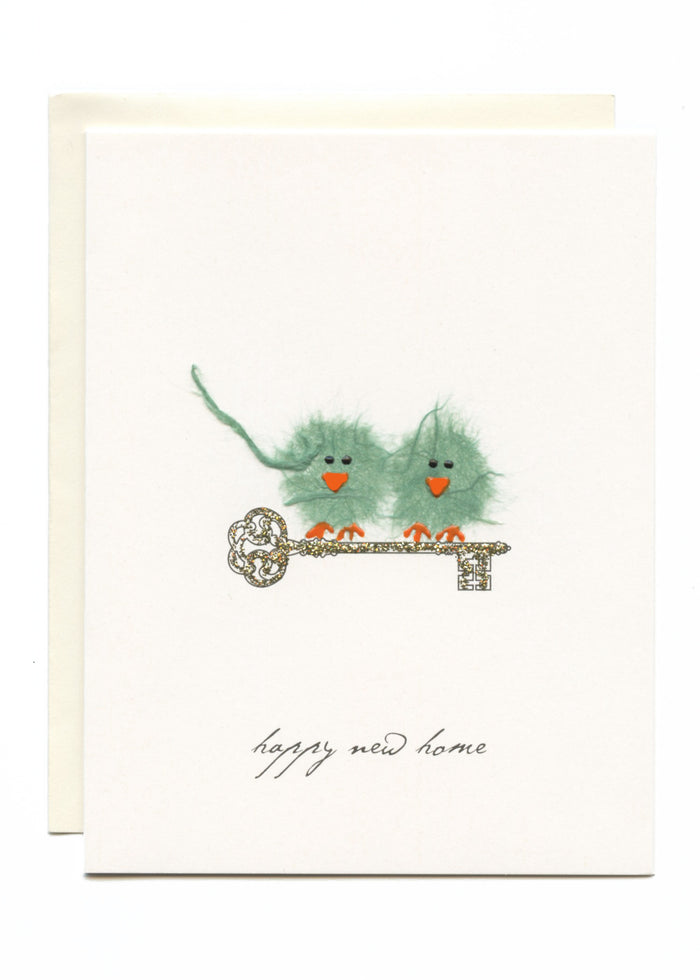 """Happy New Home"" Green Birds on Key"