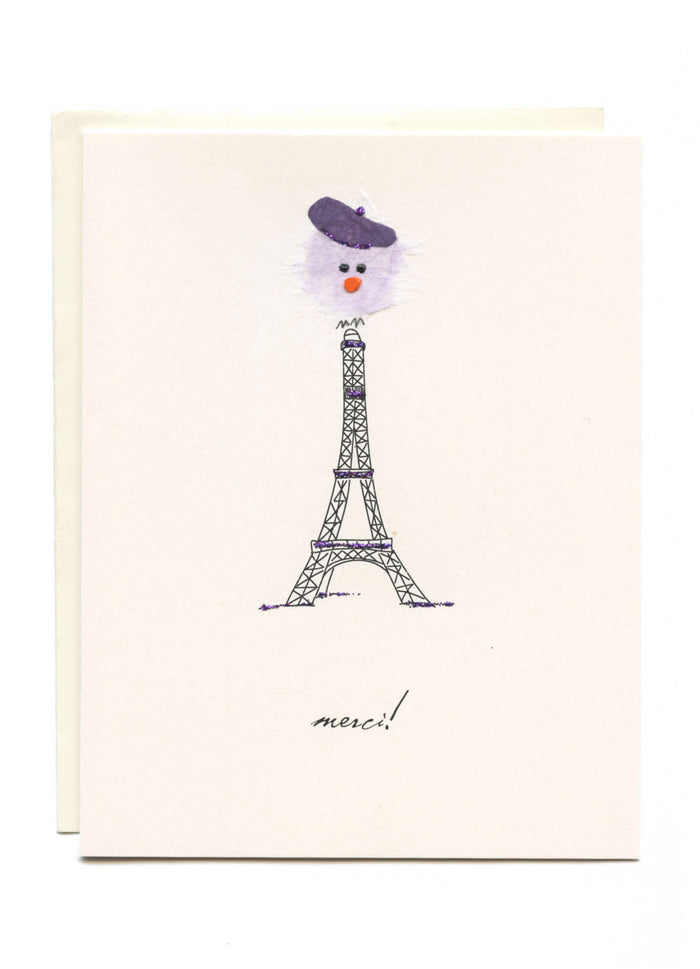 """Merci!"" Eiffel Tower with Bird"