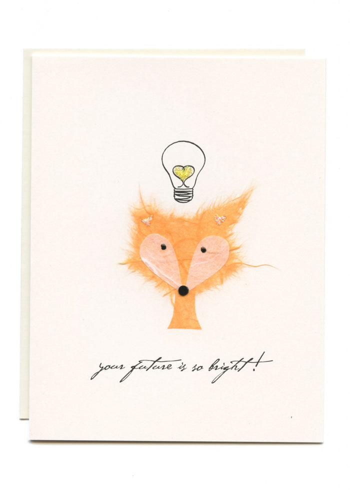 """Your Future is So Bright""  Fox with Lightbulb"