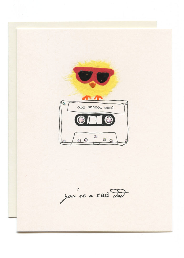 """Old School Cool - Rad Dad""  Bird on Cassette Tape"