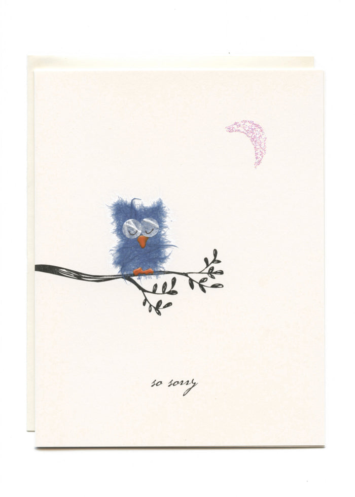 """So Sorry""  Sad Owl with Moon"