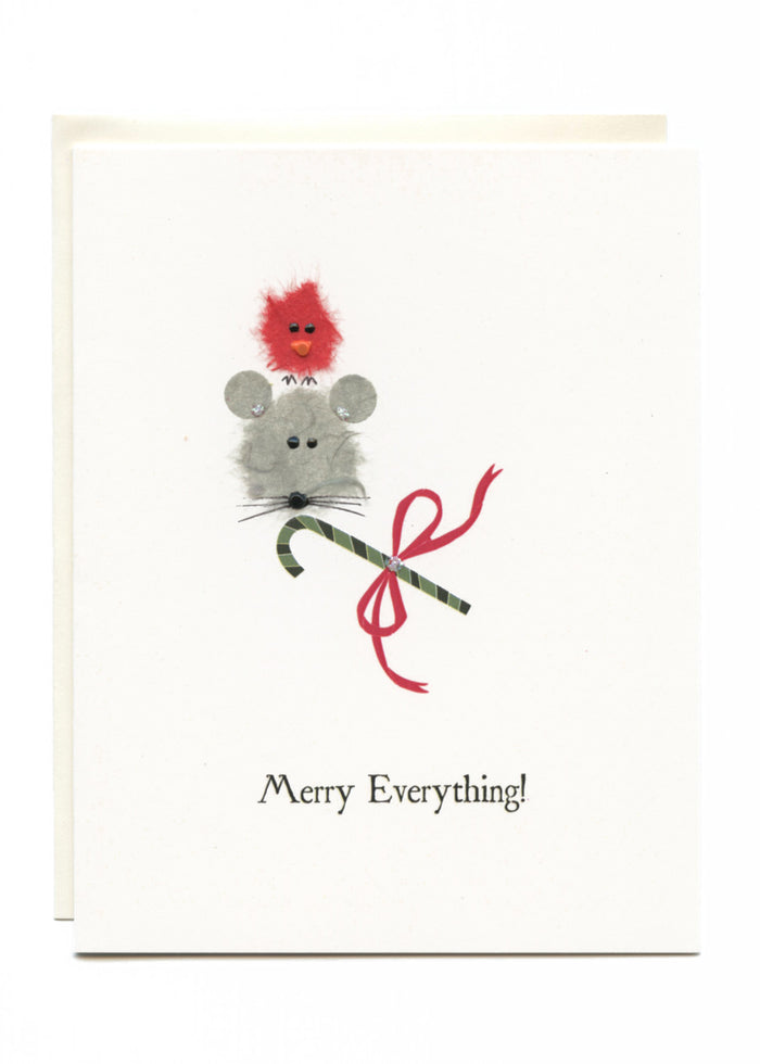"""Merry Everything!""  Bird, Mouse and Candy Cane"