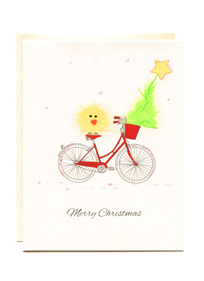 """Merry Christmas""  Bike with Bird and Tree"