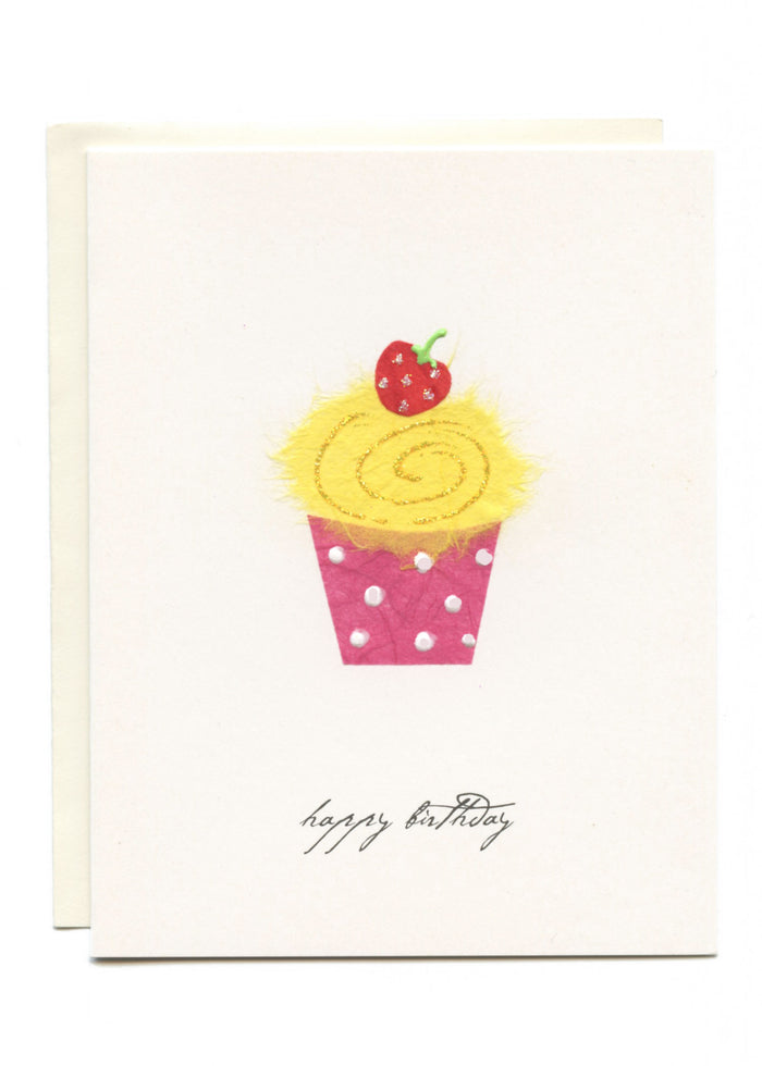 """Happy Birthday"" Yellow Cupcake"