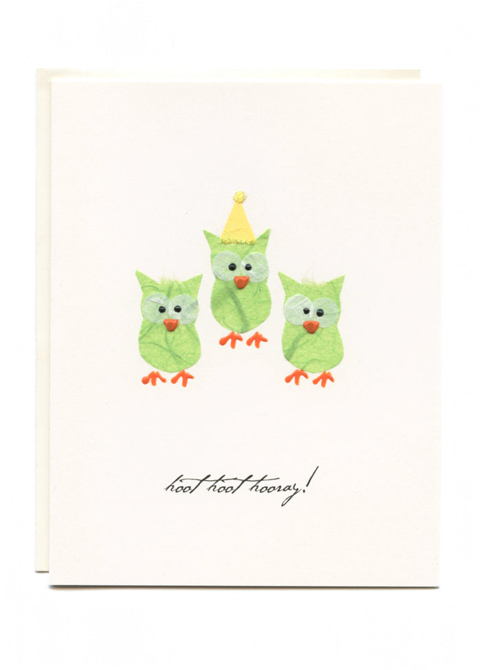 """Hoot Hoot Hooray""  Three Little Green Owls"