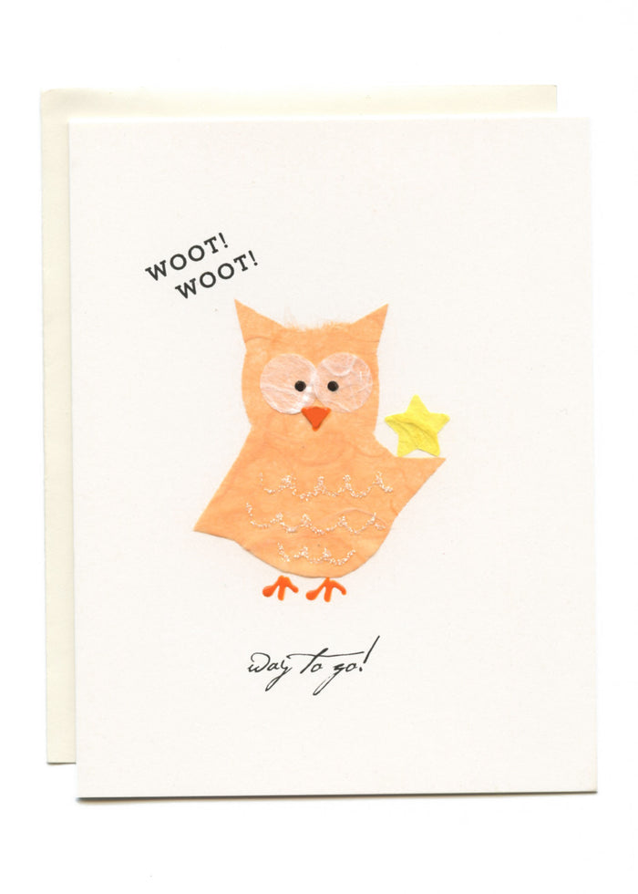 """WOOT WOOT - Way To GO!""  Owl with Star"