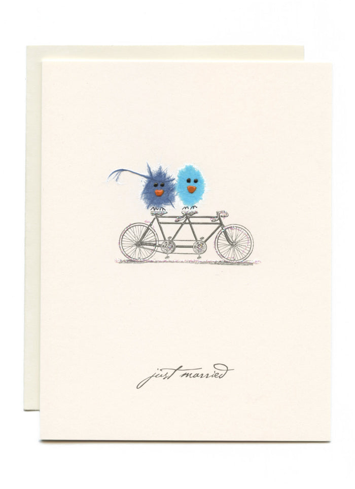 """Just Married"" Two Birds on Bike"