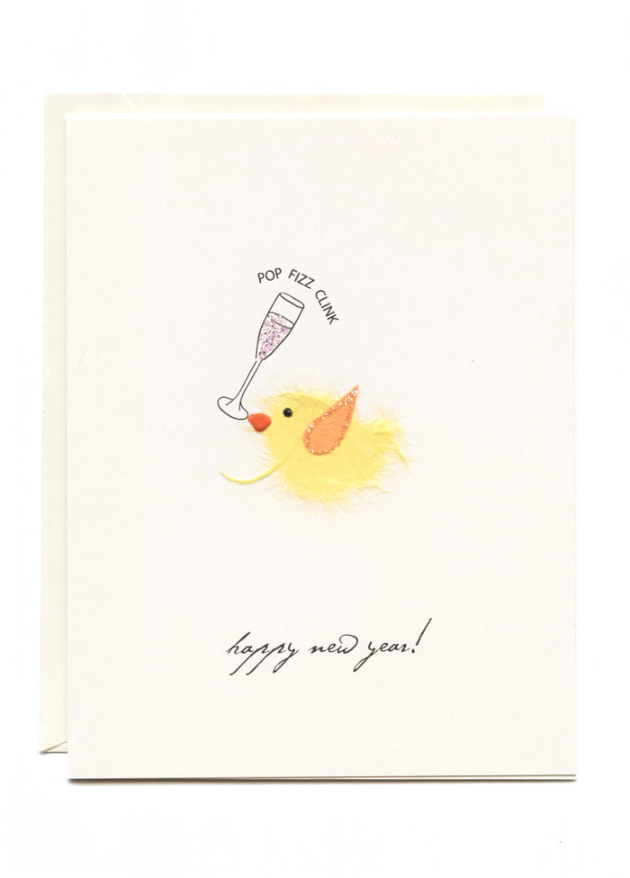 """Happy New Year!"" Bird with Champagne"