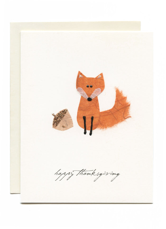 """Happy Thanksgiving"" Fox and Acorn"