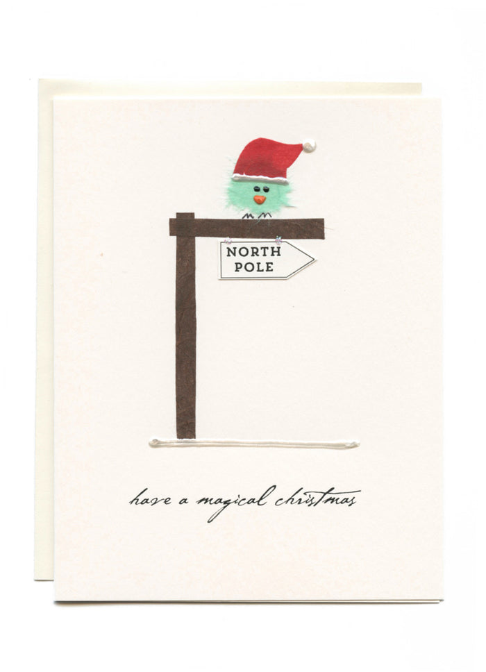 """Have a Magical Christmas""  Bird on North Pole"