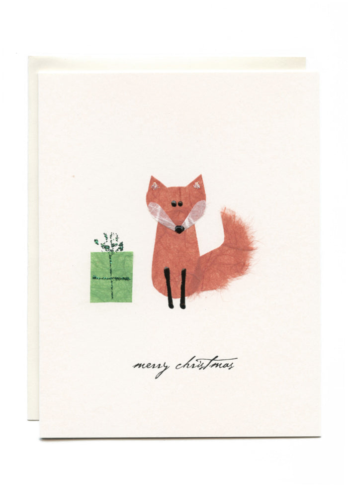 """Merry Christmas""  Fox with Present"