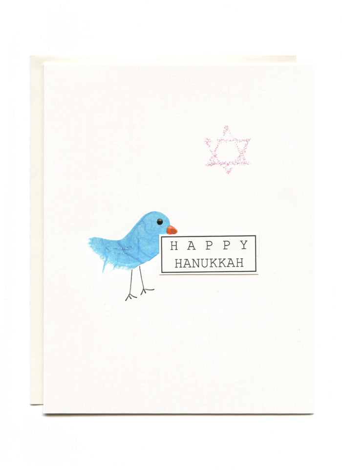 """Happy Hanukkah""  Bird with Sign"