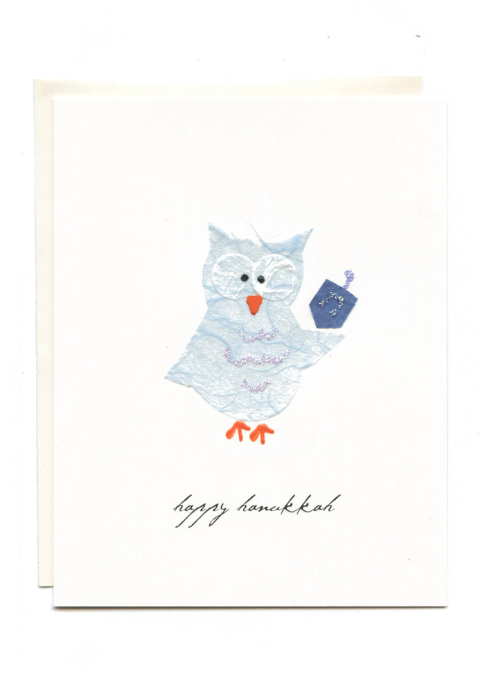 """Happy Hanukkah""  Owl with Dreidel"