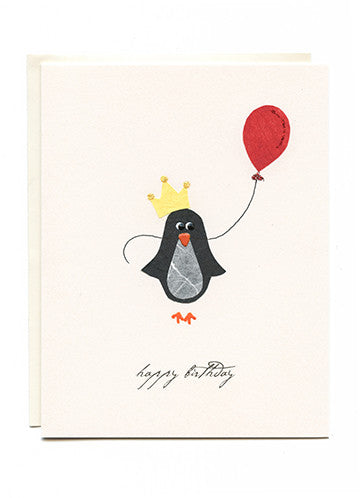 """Happy Birthday"" Penguin with Balloon"
