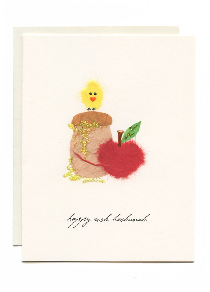 """Happy Rosh Hashanah"" Bird on Honey w/ Apple"