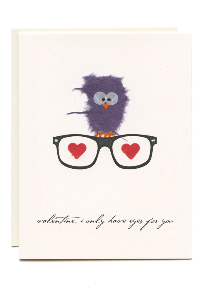 """Valentine, I Only Have Eyes For You""  Owl on Glasses"
