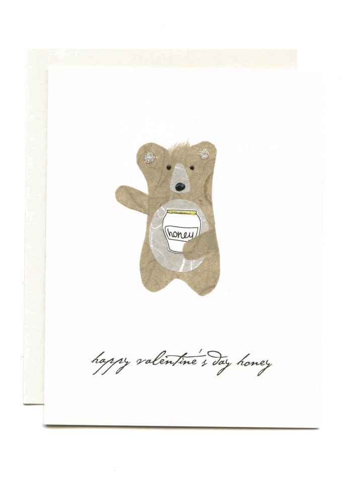 """Happy Valentine's Day Honey""  Bear with Honey Pot"