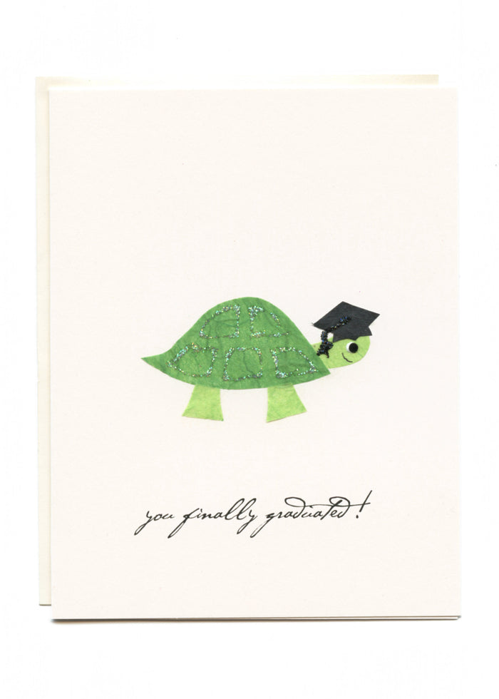 """You Finally Graduated!""  Turtle with Grad Cap"