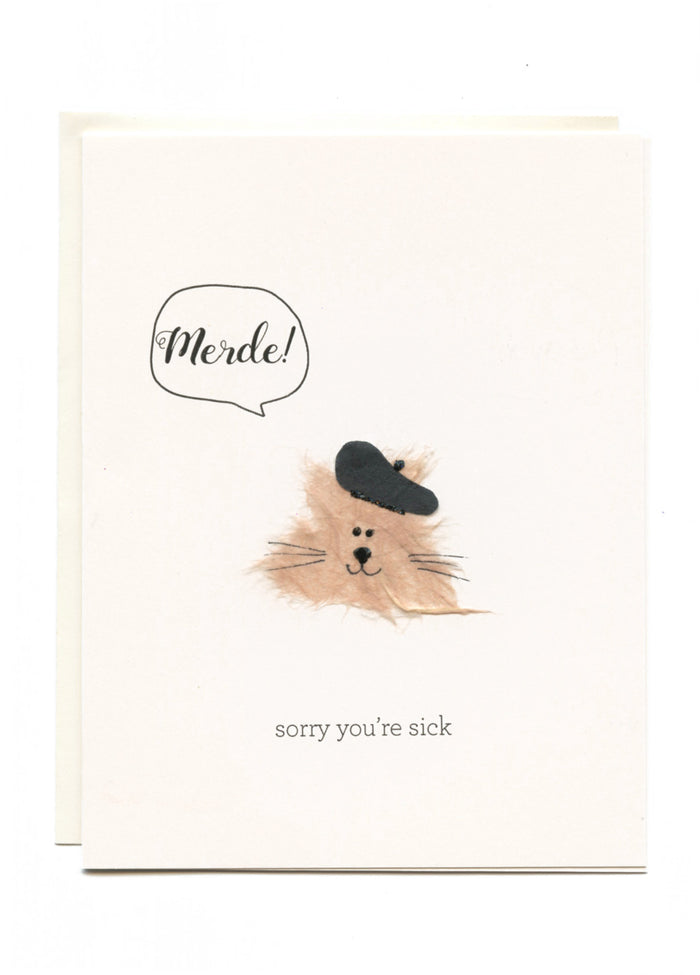 """Merde! Sorry You're Sick""  Cat with Beret"