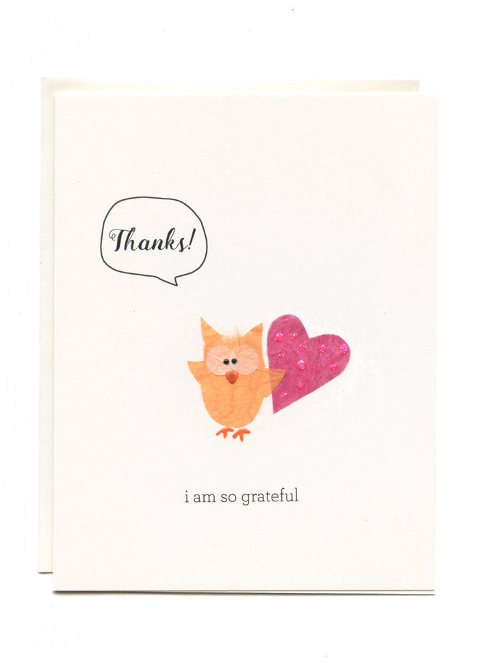"""Thanks, I Am So Grateful""  Owl with Heart"