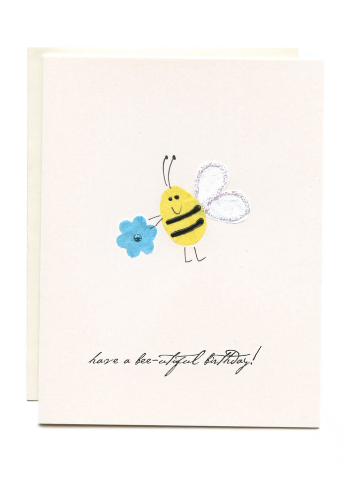 """Have a Bee-u-tiful Birthday""  Bee with Flower"