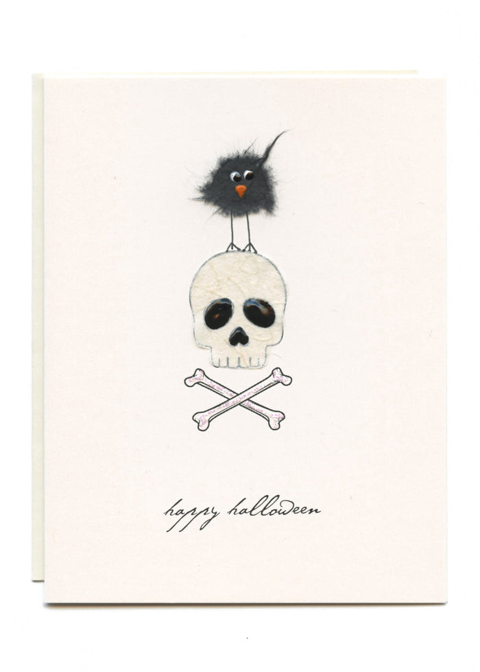 """Happy Halloween""  Skull and Bird"