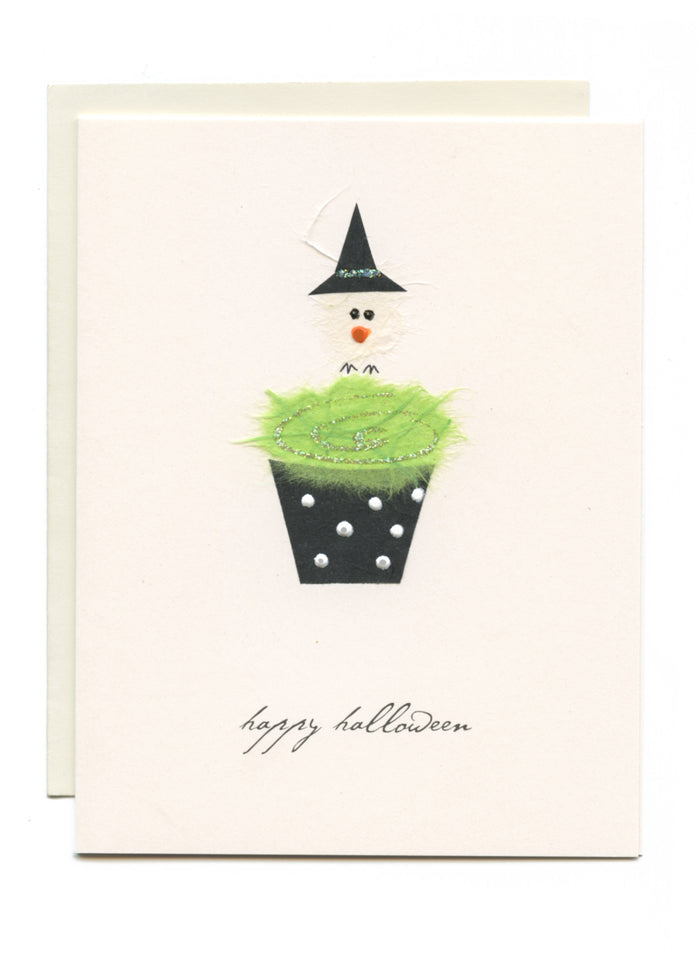 """Happy Halloween"" Witch Bird on Cupcake"
