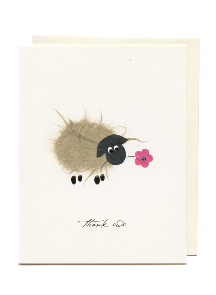 """Thank Ewe""  Ewe with Flower"