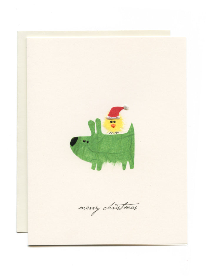 """Merry Christmas"" Dog and Bird"